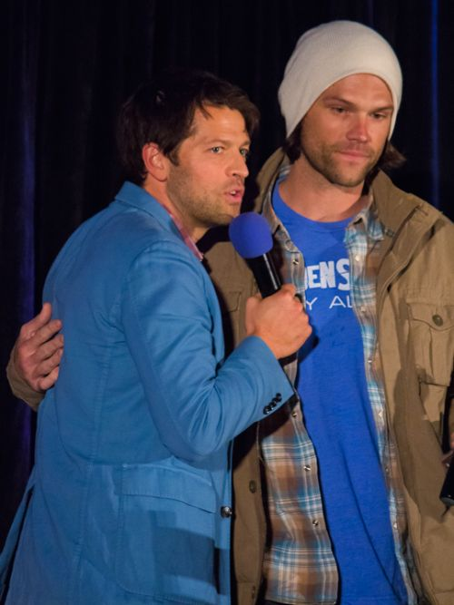 Jared Padalecki and Misha Collins, Saturday Panel. SeaCon 2015. photo by http://dracopotter.tumblr.com