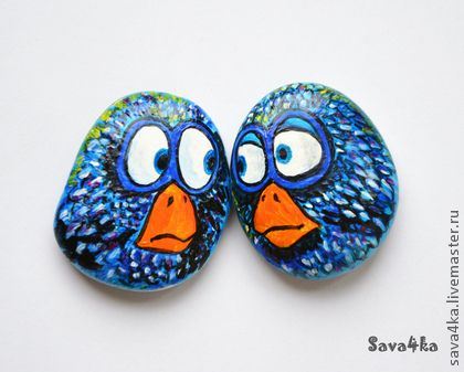 Cute painted rock birds! (I would want them to smile though. :):