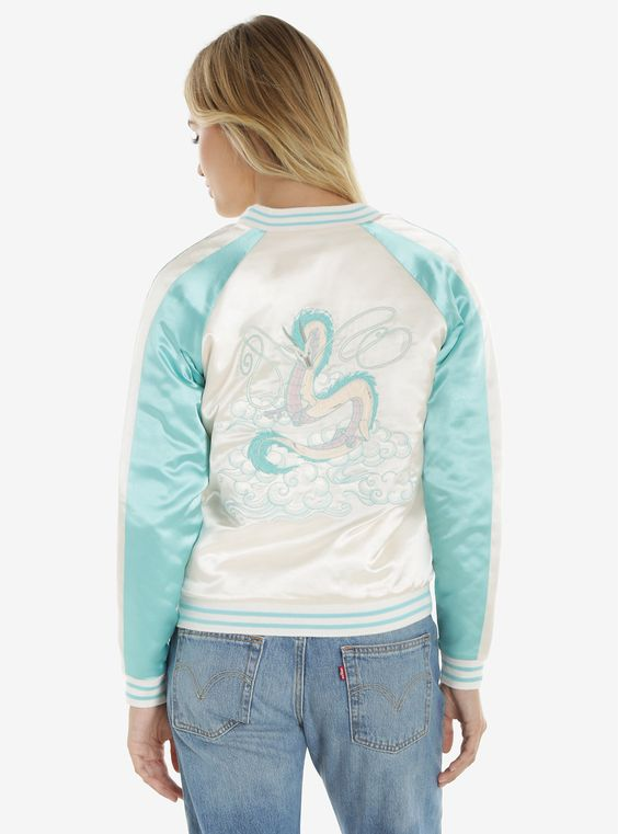 Her Universe Studio Ghibli Spirited Away Haku Bomber Jacket | BoxLunch http://www.boxlunch.com/product/her-universe-studio-ghibli-spirited-away-haku-bomber-jacket/10761608.html?cgid=pop-culture-shop-by-license-studio-ghibli