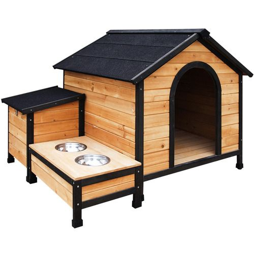 Timber Dog Kennel With Food Bowls Temple Webster Dog Kennel Build A Dog House Large Dog House