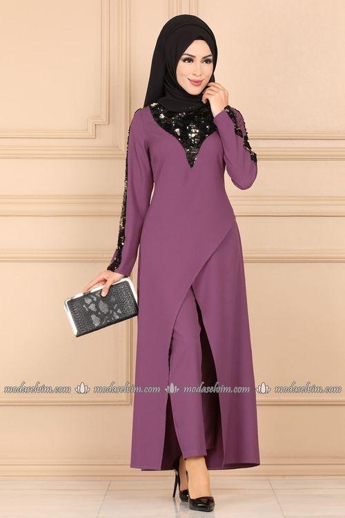 Dugmeli Ikili Tesettur Takim 4036ab368 Lila Moda Selvim Islami Giyim Elbise Kiyafet