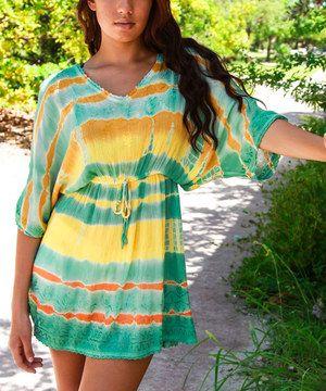 Look what I found on #zulily! La Moda Clothing Yellow & Green Drop-Waist V-Neck Tunic by La Moda Clothing #zulilyfinds