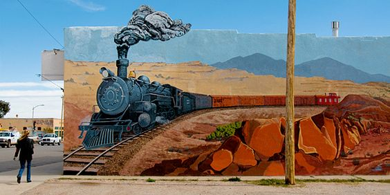 Mountainair NM train mural, Across the New Mexico Outback by David McLane: