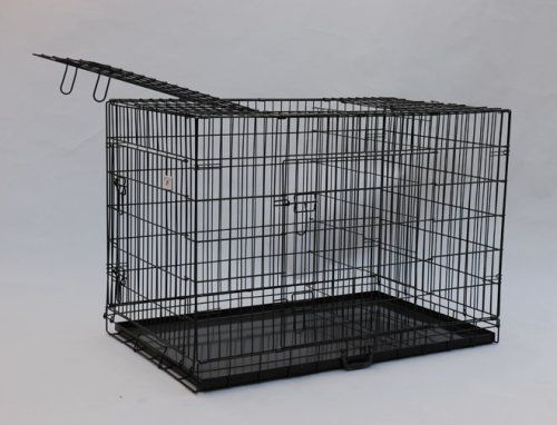 """Best Pet Black 49"""" Triple-door Suitcase Style Folding Dog Crate with Free Pan - 49""""(l) X 29""""(w) X 32""""(h) - http://www.thepuppy.org/best-pet-black-49-triple-door-suitcase-style-folding-dog-crate-with-free-pan-49l-x-29w-x-32h/"""