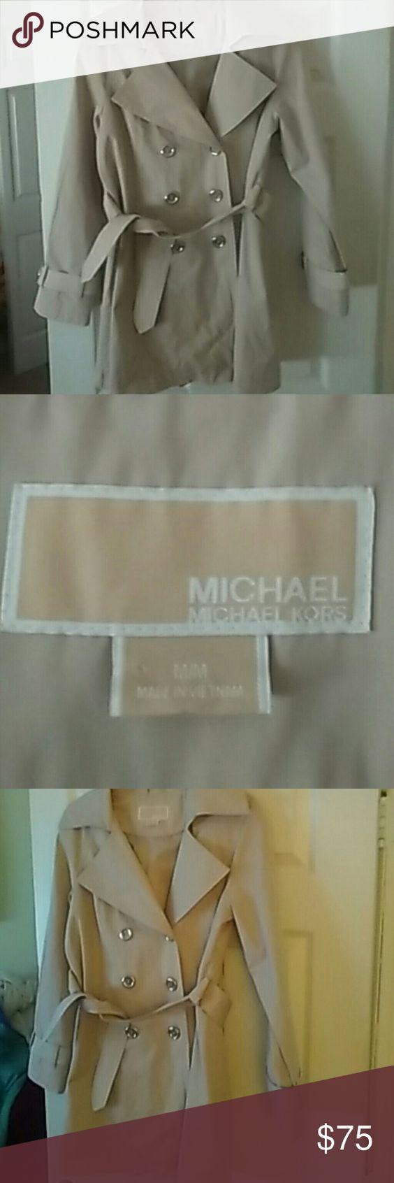 Selling this Michael Kors tan Trench Coat sz M on Poshmark! My username is…