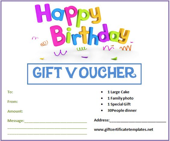 Birthday Gift Certificate Templates by www - create a voucher template