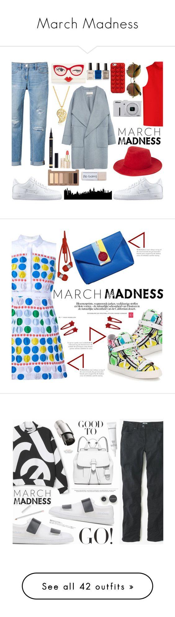 """March Madness"" by yaya-enjoy ❤ liked on Polyvore featuring Courrèges, White House Black Market, Kate Spade, NIKE, Sonal Bhaskaran, Zara, Marc Jacobs, rag & bone, Nikon and Urban Decay"