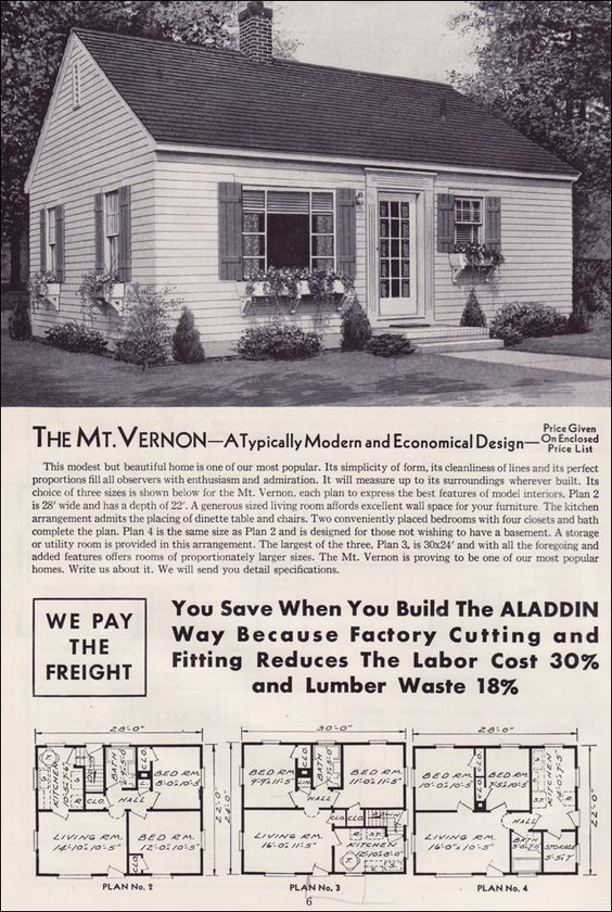 1951 aladdin kit houses the mt vernon vintage house for 1950s council house floor plan