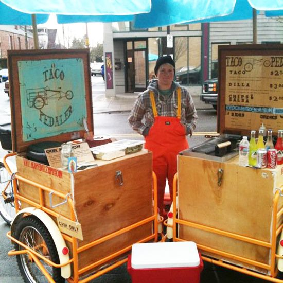 Bike Food Carts: Taco Pedaler-- good idea having a sign as part of the lid/ design