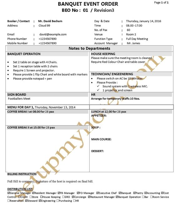 How To Create A Banquet Event Order Template  Tripleseat  Event