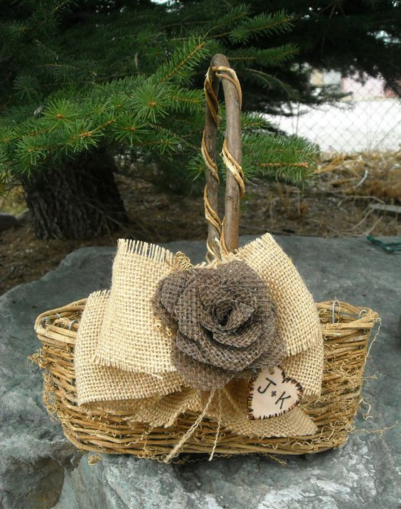 Rustic Burlap Flower Girl Baskets : Personalized flower girl basket burlap rose wedding