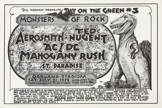 Music Memorabilia:Posters, Day On the Green Monsters of Rock Oakland Stadium ConcertPoster (Bill Graham, 1979)....