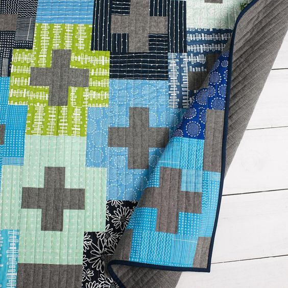 Modern Plus quilt by Emily Dennis using Blueberry Park fabrics