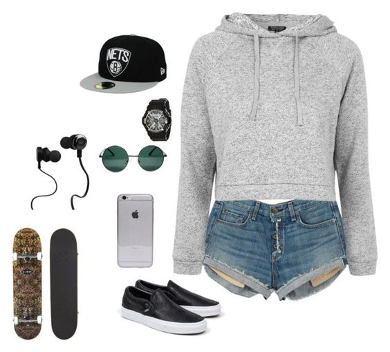 """""""Lazy day"""" by mastersunshine88 ❤ liked on Polyvore featuring rag & bone, Topshop, Vans, YHF, Monster and G-Shock"""