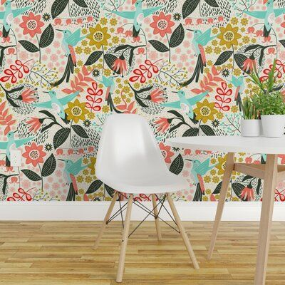 Bungalow Rose Tonnele Hummingbird Removable Peel And Stick Wallpaper Panel Size 144 L X 24 W Peel And Stick Wallpaper Hummingbird Wallpaper Wallpaper Panels