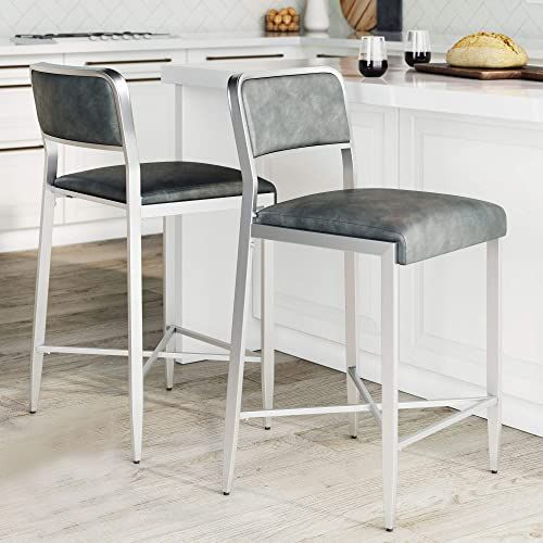 New Nathan James Kira Counter Bar Stool Set 2 Leather Cushion Metal Frame 24 Backrest Gray Silver Online Fancylookstar In 2020 Counter Bar Stools Bar Stools Kitchen Counter Stools