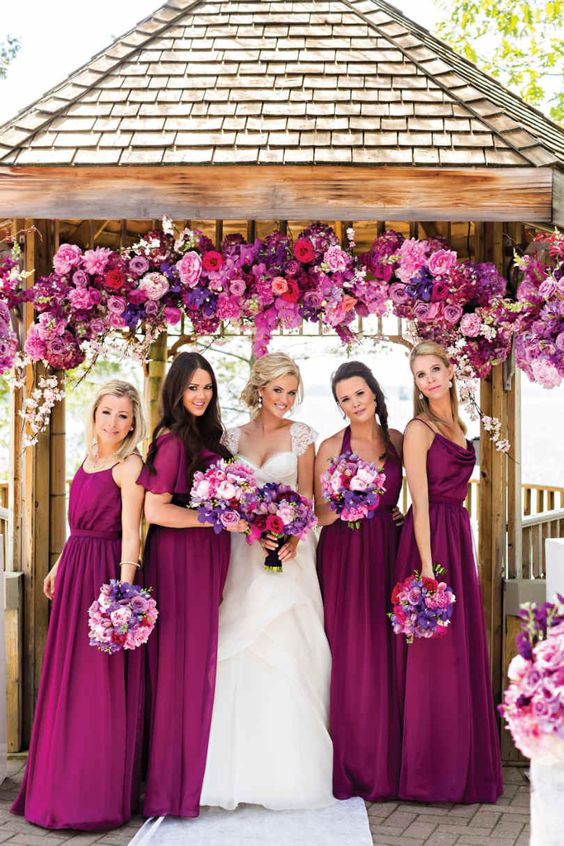 Purple Magenta Bridesmaids Dresses | STUNNING COLOUR THEME FOR A WEDDING | Elegant Wedding