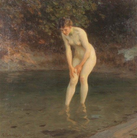 Bather on the river bank - Robert Poetzelberger