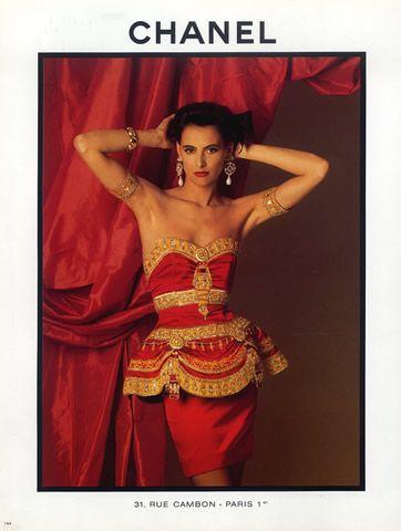 Chanel (Couture) 1987 Evening Gown, Chandelier Jewels... ah yes, it's Inès De La Fressange!:
