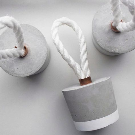 Concrete Door Stopper - Round Door Stop Decoration with White Rope
