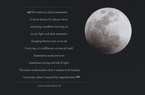 The moon is a loyal companion. It never leaves. It's always there, watching, steadfast, knowing us in our light & dark moments, changing forever just as we do. Every day it's a different version of itself. Sometimes weak & wan, sometimes strong & full of light. The moon understands what it means to be human. Uncertain. Alone. Cratered by imperfections