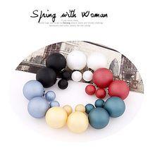 2015 Ohrstecker Ohrringe Trendy Netter Charme-doppelt-perlen Erklärung Ball Ohrringe Brincos Zubehör Schmuck Für Frauen(China (Mainland))