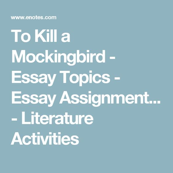 essay topics for to kill a mockingbird Home → sparknotes → literature study guides → to kill a mockingbird → suggested essay topics to kill a mockingbird harper lee contents suggested essay.