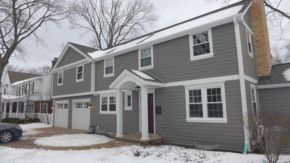 Best James Hardie Siding In Aged Pewter With Arctic White Trim 400 x 300