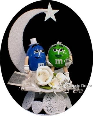 m s wedding cake toppers m amp m wedding cake topper blue green m 2 on ebay 17647