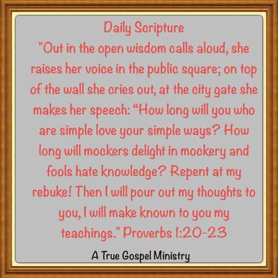 "Daily Scripture ""Out in the open wisdom calls aloud, she raises her voice in the public square; on top of the wall she cries out, at the city gate she makes her speech: ""How long will you who are simple love your simple ways? How long will mockers delight in mockery and fools hate knowledge? Repent at my rebuke! Then I will pour out my thoughts to you, I will make known to you my teachings."" Proverbs‬ ‭1‬:‭20-23 #dailyscripture #atruegospelministry #morningprayer #morningscripture"