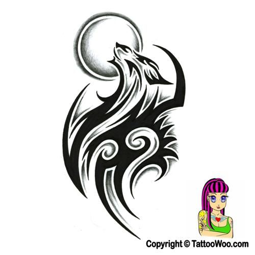 tribal wolf tattoo design with shading by on deviantart tattoos. Black Bedroom Furniture Sets. Home Design Ideas
