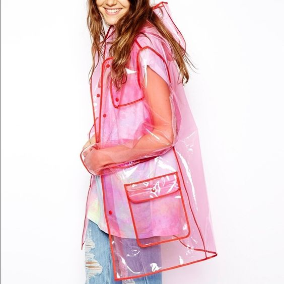 Clear pink raincoat Super cute clear pink raincoat from Asos! Will post pics of the actual jacket later today. ASOS Jackets & Coats