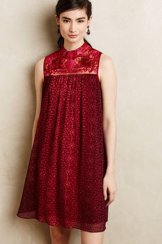 ANTHROPOLOGIE AMARA RED EMBROIDERED SWING DRESS BY NIKI MAHAJAN 4 SMALL NEW $198 #Anthropologie #Swing #Cocktail