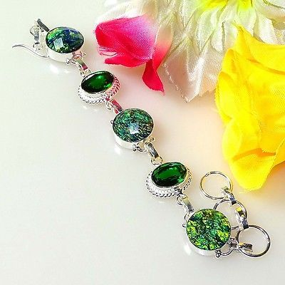 "CANADIAN AMMOLITE & CHROME DIOPSIDE 925 SILVER BRACELET 14444 SIZE 7-8 "" https://t.co/i6DSgHmLwY https://t.co/DTanbGspUQ"