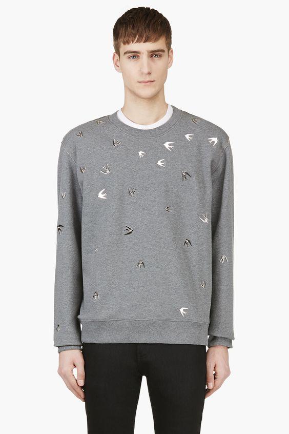 MCQ ALEXANDER MCQUEEN Grey Studded Crewneck Sweatshirt