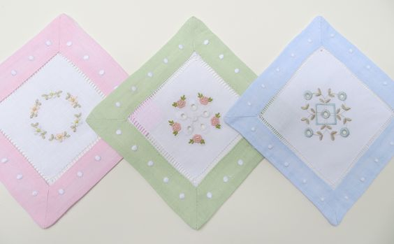 Pastel cocktail napkin blanks with embroideries from Beautiful Eyelet, Christening 1, and Heirloom 1 Collections