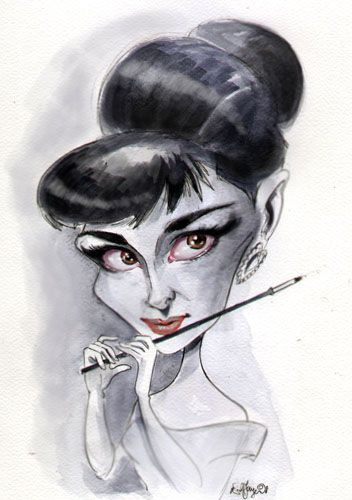Audrey Hepburn Caricature Words cannot describe how talented Sebastian Kruger is at drawing caricatures