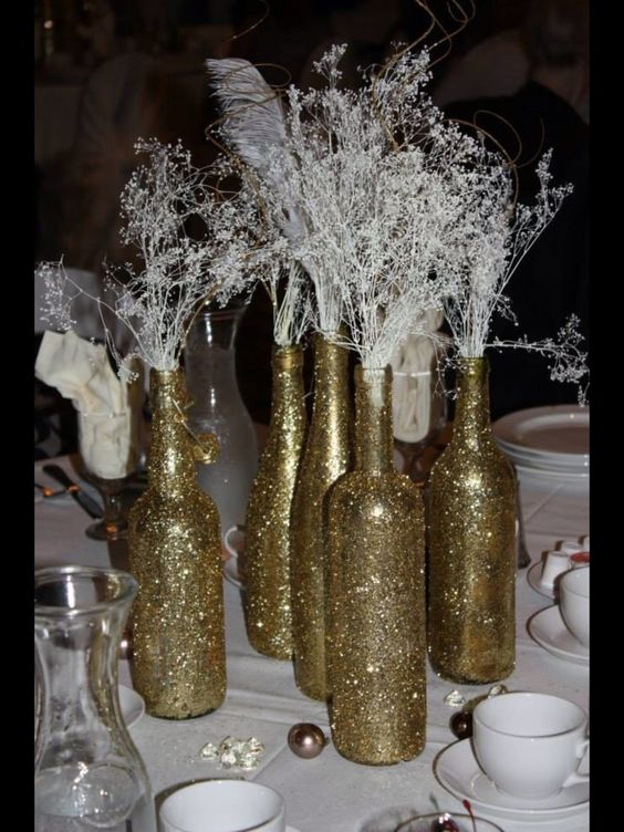 Glitter gold wine bottles baby s breath pearls diamonds