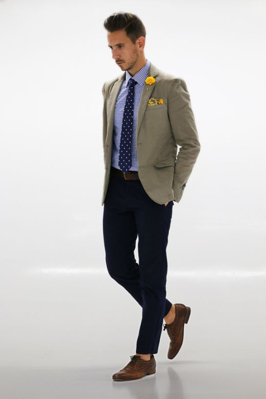 Mens Fashion - Khaki blazer, checked shirt, polka dot tie, yellow ...