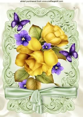 PRETTY YELLOW ROSES AND PURPLE FLOWERS A4 on Craftsuprint - Add To Basket!