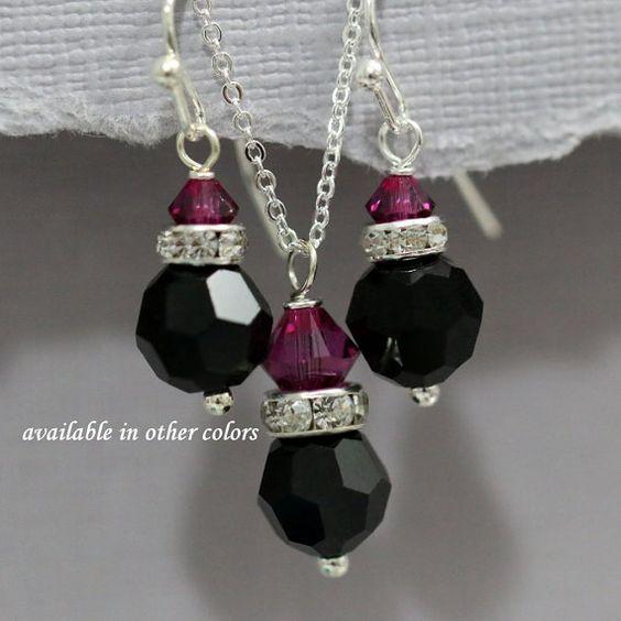 Black and Hot Pink Jewelry Set, Swarovski Black and Fuschia Crystal Bridesmaid Jewelry Set, Fuschia and Black Bridesmaid Jewelry