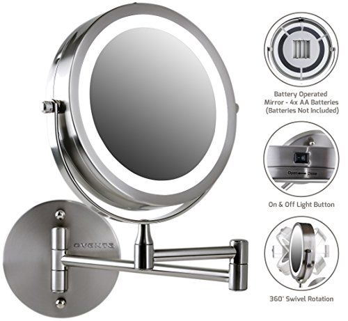New Ovente Wall Mount Led Lighted Makeup Mirror Battery Operated 1x 10x Lighted Magnifying Makeup Mirror Makeup Mirror With Lights Wall Mounted Makeup Mirror
