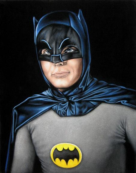 Adam West as Batman 14″ X 18″ black velvet painting $300