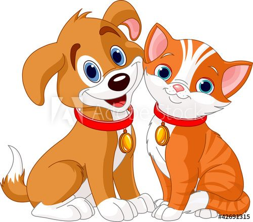 Cat And Dog In 2021 Cats Illustration Dog Clip Art Cat Clipart