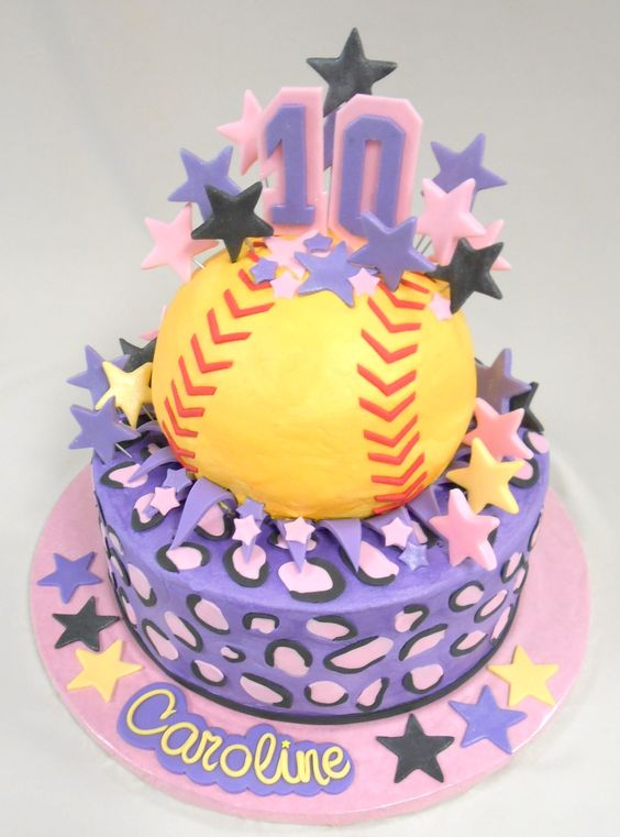 Custom Softball Cake With Fondant Detailing Happy 10th