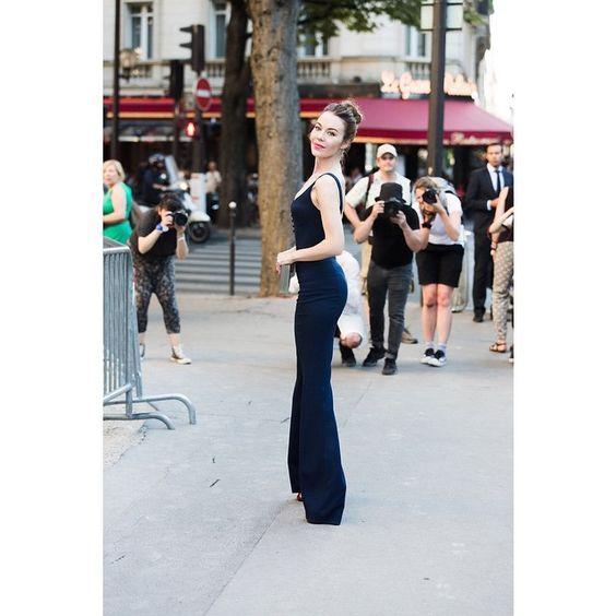 Ulyana in Paris wearing Ulyana Sergeenko Couture jumpsuit