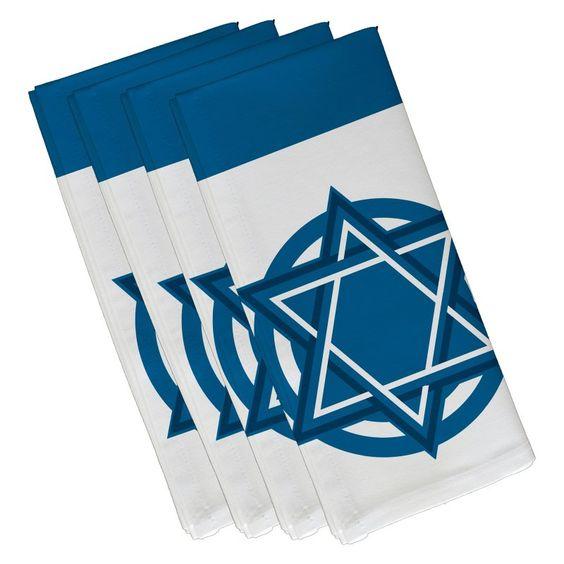 E by Design Hanukkah Star Bright Holiday Geometric Pattern Napkin - Set of 4 Teal - N4GHN565BL34