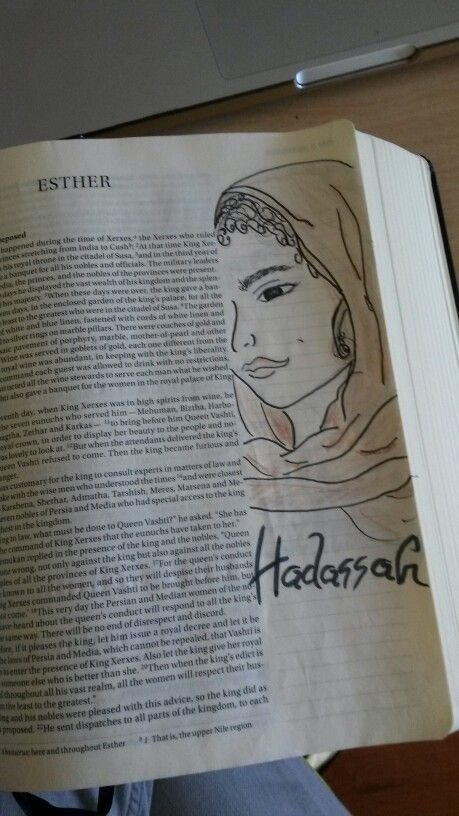 One of my favorite Bible stories, Queen Esther.  This is her (Hadassah) before selected. Bible journaling