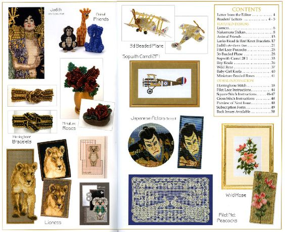 Jill Oxton's Cross Stitch & Bead Weaving Magazines, Issue 91 contents page. Available from Australian Needle Arts
