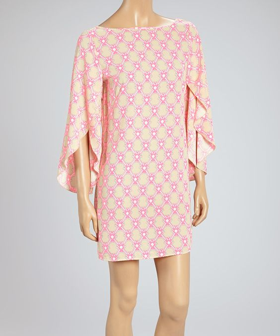 Look at this #zulilyfind! Neon Pink & Beige Lattice Bishop Sleeve Shift Tunic by Adrienne #zulilyfinds